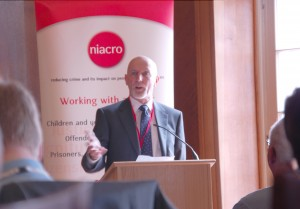 Bob Ashford speaking at NIACRO event at Stormont.